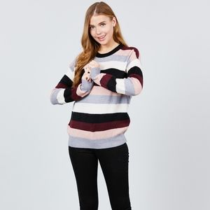 LONG SLEEVE ROUND NECK STRIPED SWEATER